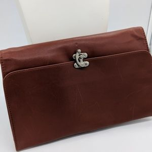 Brown leather foldover clutch